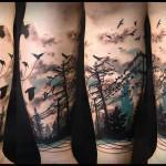 ravens-birds-forest-color-at-leg-by-Aygul-Tattoo