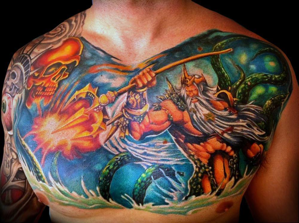 Посейдон тату очень цветной сюжет на груди