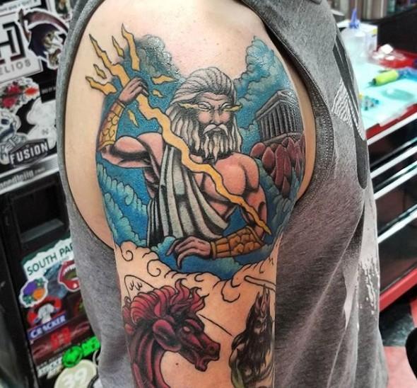 Тату Зевс цветной с конем