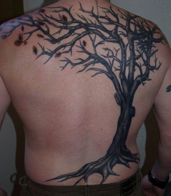 Татуировка с деревом на мужской спине