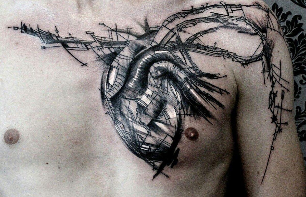 тату органика сердце