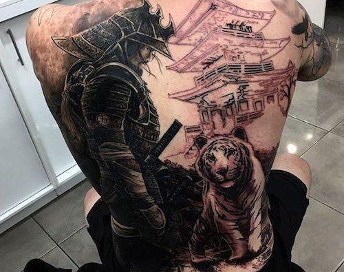 Тату самурай спина с тигром