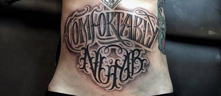 Фотографии татуировки надписи на животе у девушек
