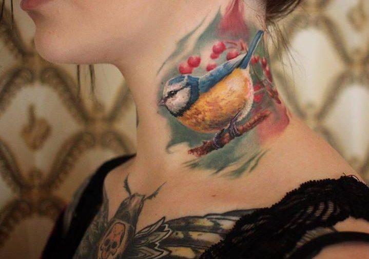 Фотографии татуировки на шее для девушек